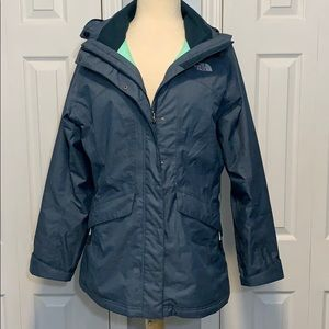 The North Face teal Hyvent winter jacket